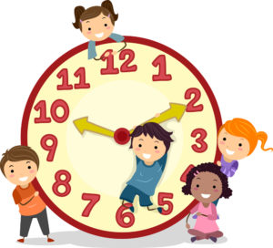 Illustration of Stickman Kids on a Big Clock